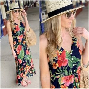 Navy Tropical Print High Low Maxi Dress